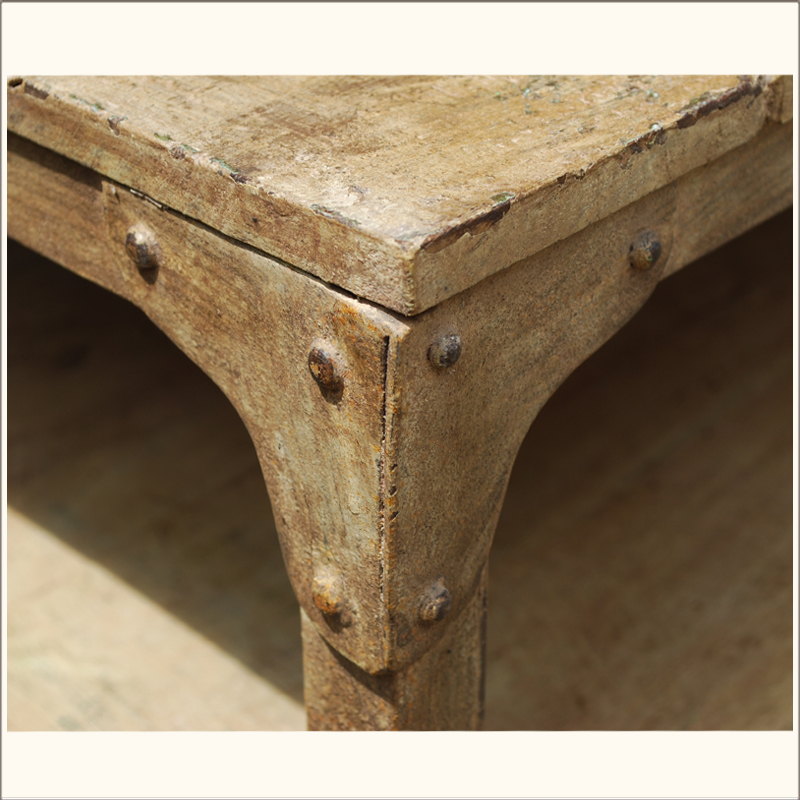 Image of: Iron And Wood Coffee Table Detail