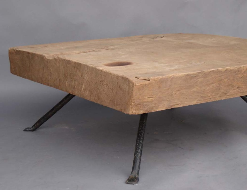 Image of: Iron And Wood Coffee Table Natural Design