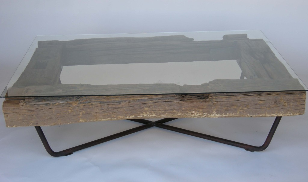 Picture of: Iron And Wood Coffee Table Rustic Glass