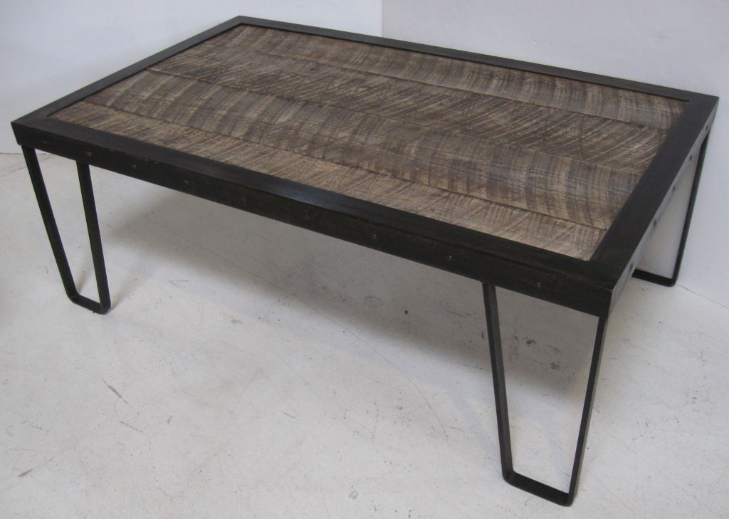 Picture of: Iron And Wood Coffee Table Rustic Wood