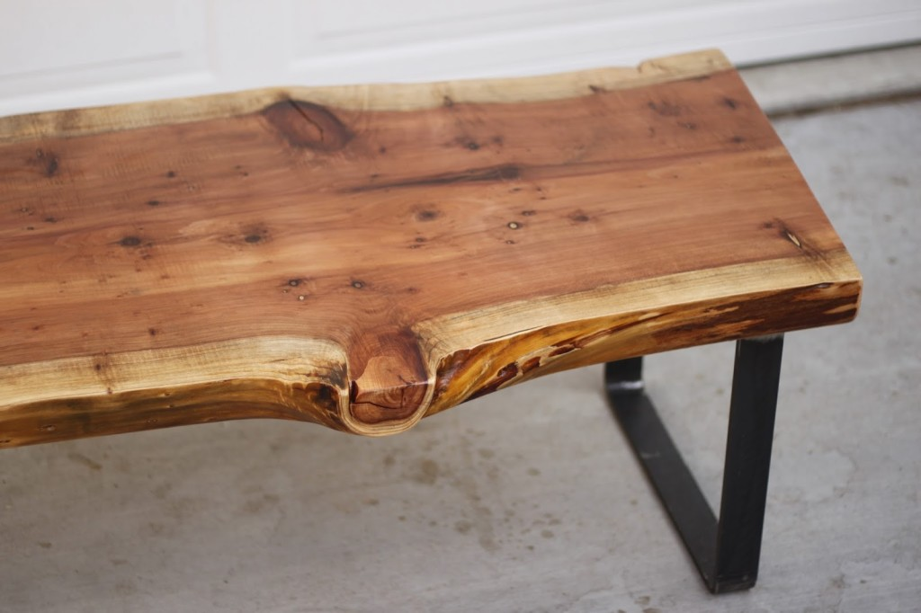 Picture of: Iron And Wood Coffee Table Wood Slab