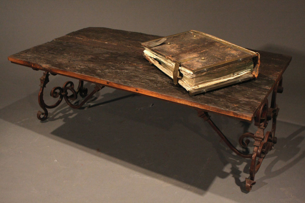 Image of: Iron And Wood Coffee Table Wrought