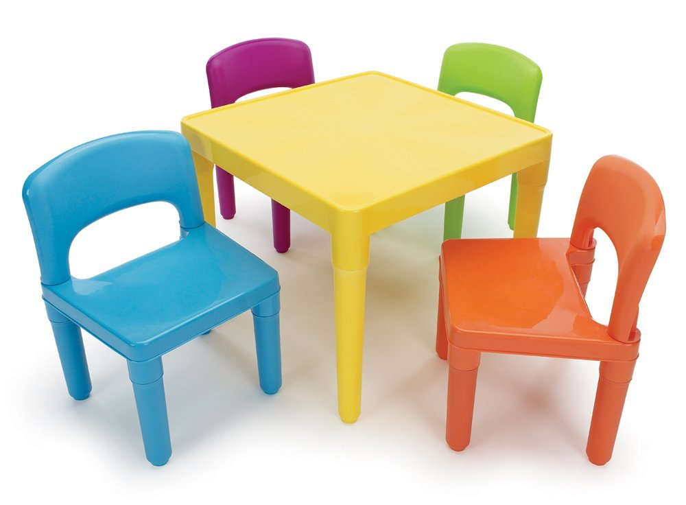Image of: Kids Folding Table And Chairs Colors