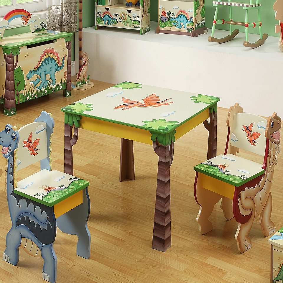 Picture of: Kids Folding Table And Chairs Dinosaur