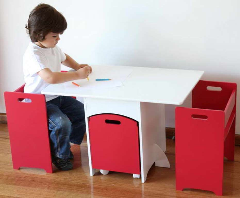 Image of: Kids Folding Table And Chairs With Storage