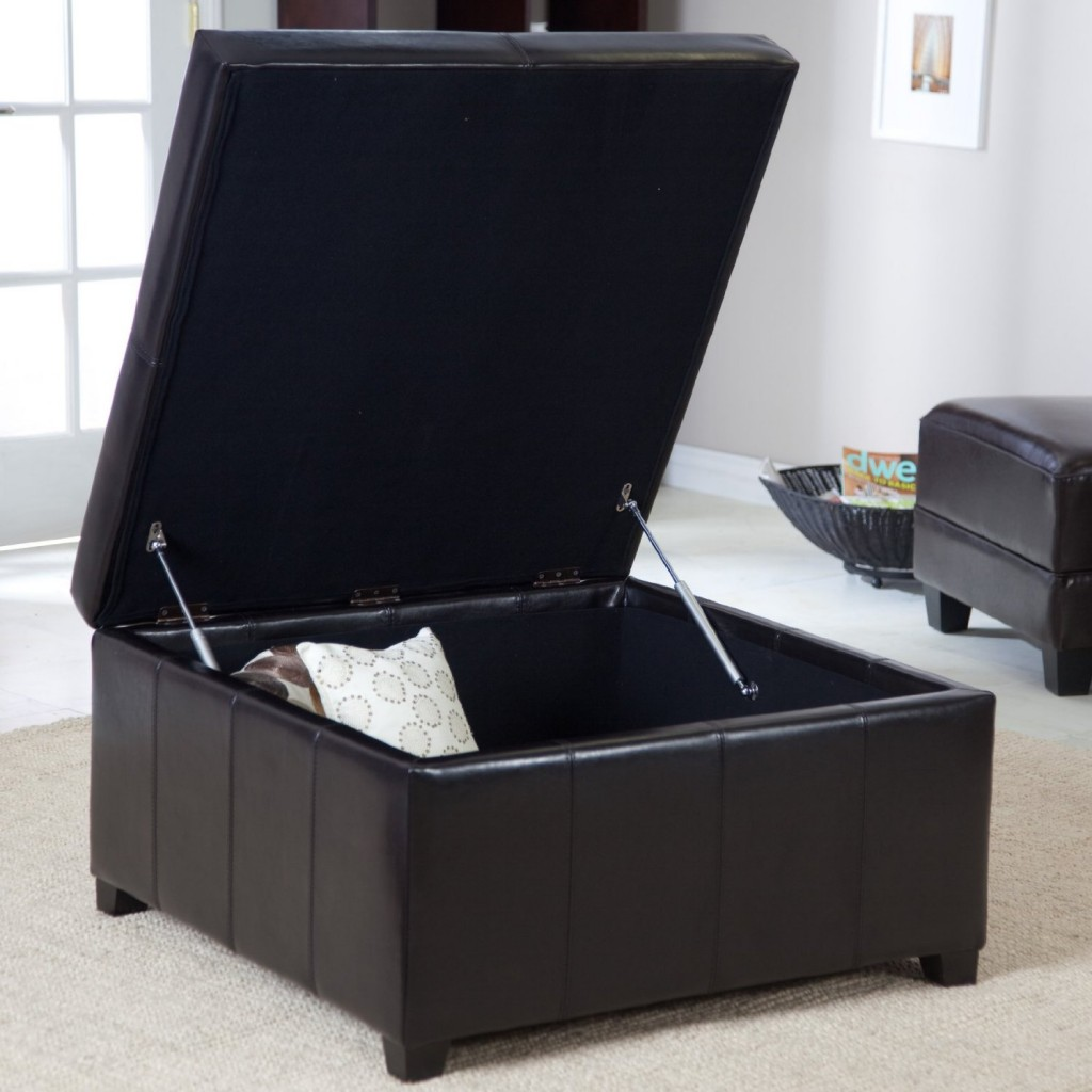 Image of: Large Leather Ottoman with Storage