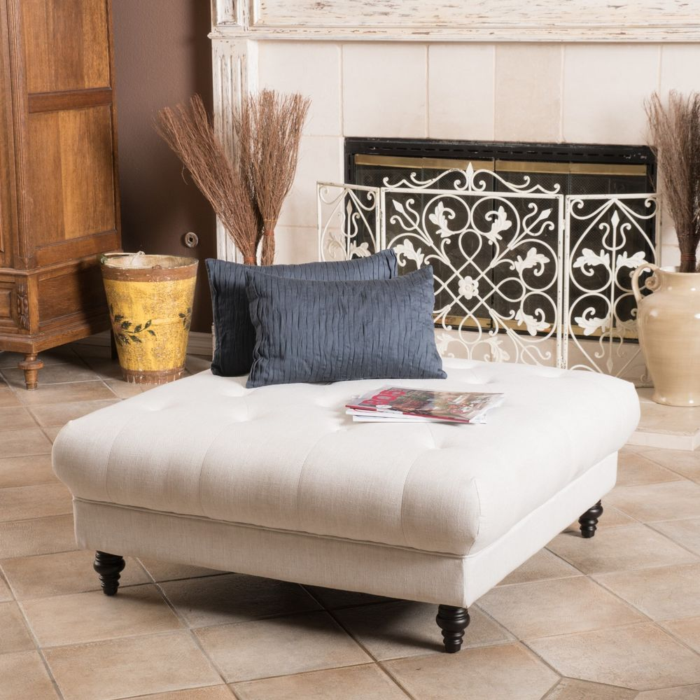 Picture of: Large Tufted Ottoman Coffee Table