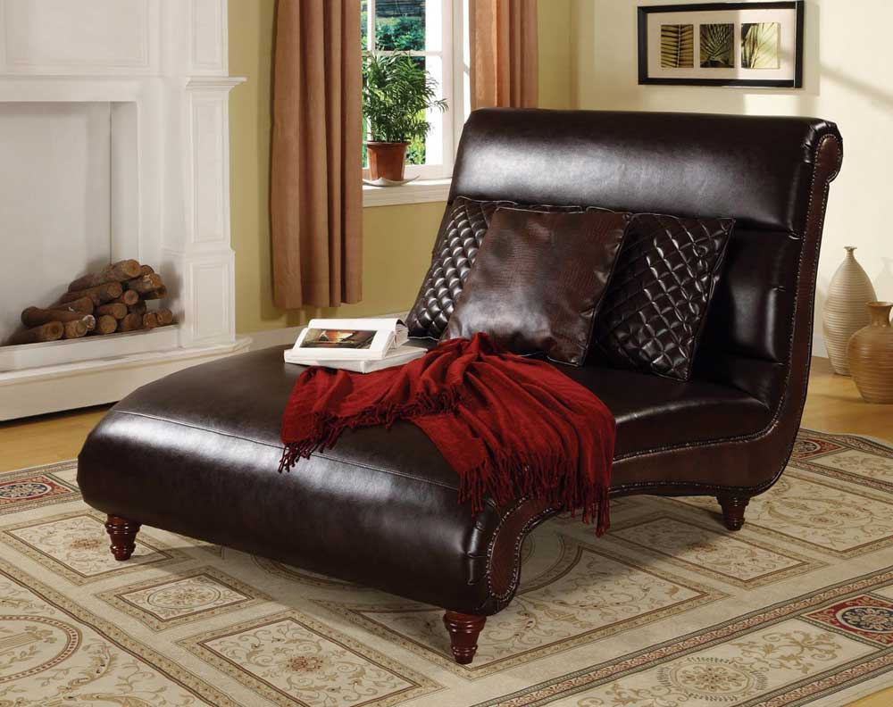 Image of: Leather Double Chaise Lounge