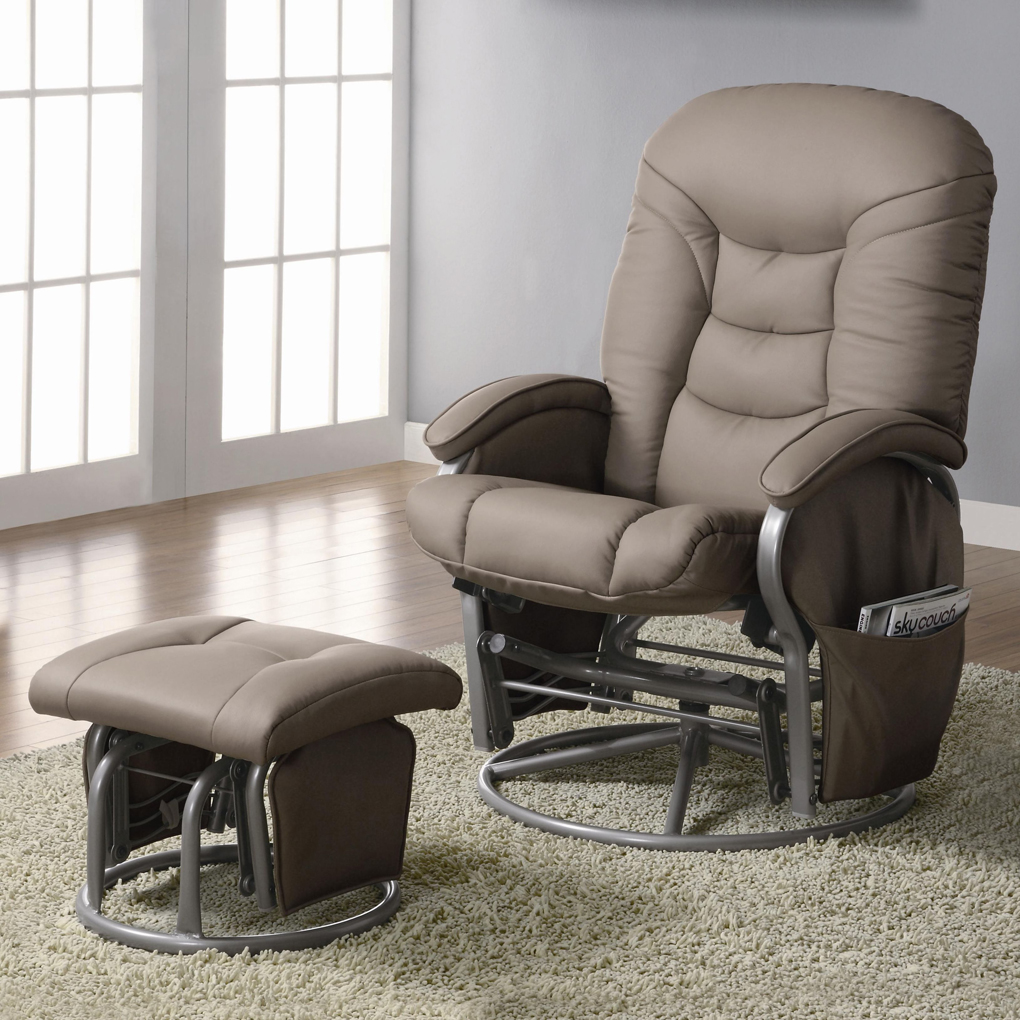 Picture of: Leather Recliner and Ottoman