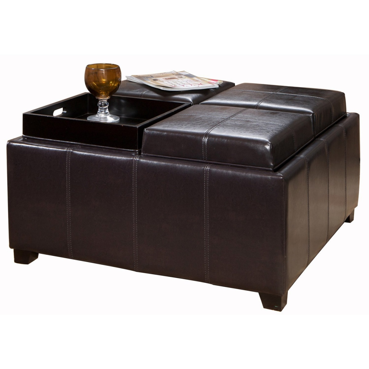 Picture of: Leather coffee table ottoman