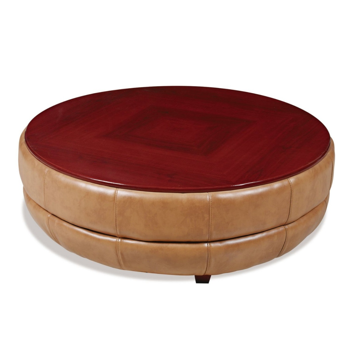 Picture of: Leather coffee table round