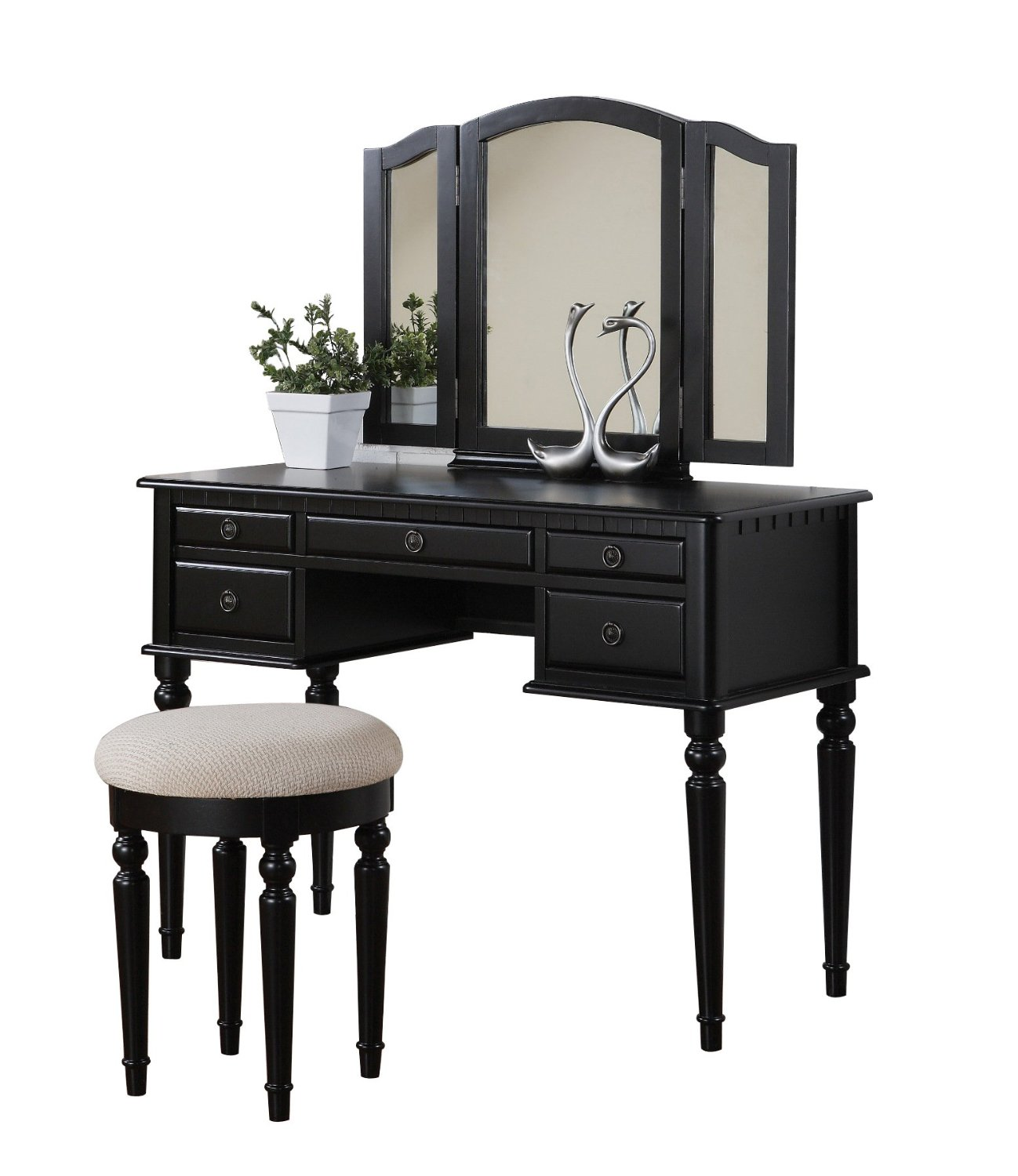 Picture of: Makeup vanity table set black