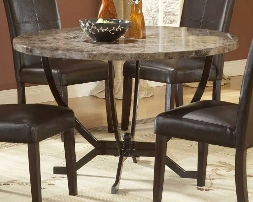 Image of: Marble top round dining table set
