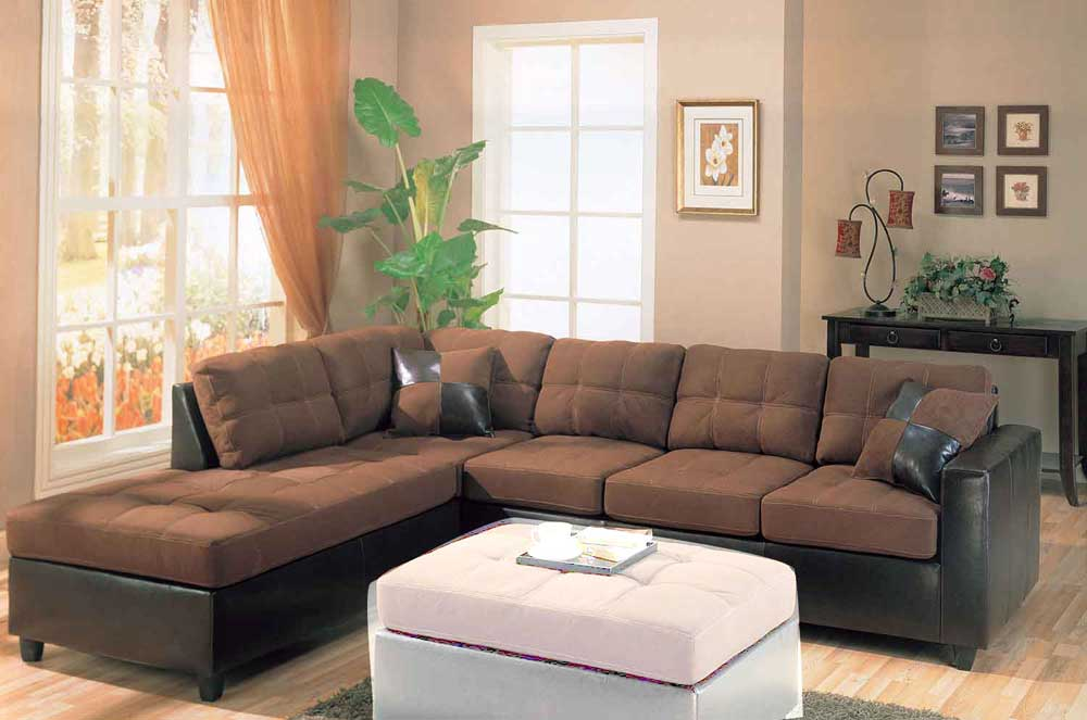 Image of: Microfiber Sectional Sofa Leather