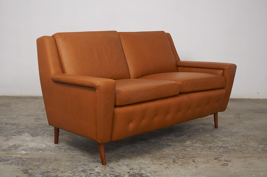Image of: Mid Century Modern Loveseat in Brown