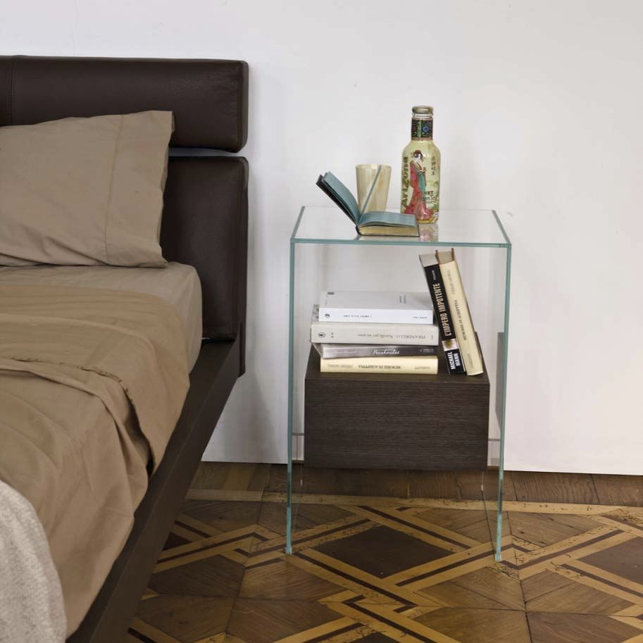 Image of: Mini Glass Bedside Table