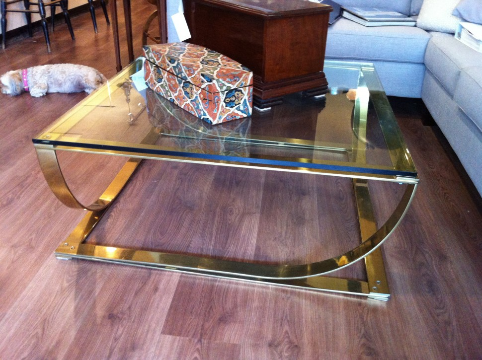 Image of: Modern Glass and Brass Coffee Table