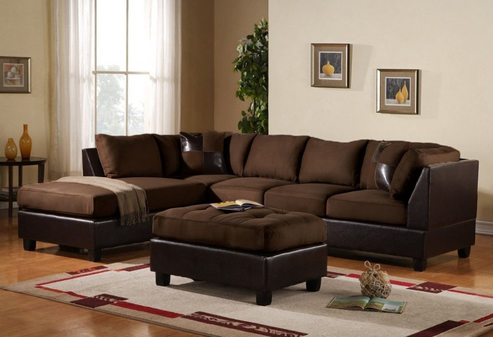 Picture of: Modern Microfiber Sectional Sofa