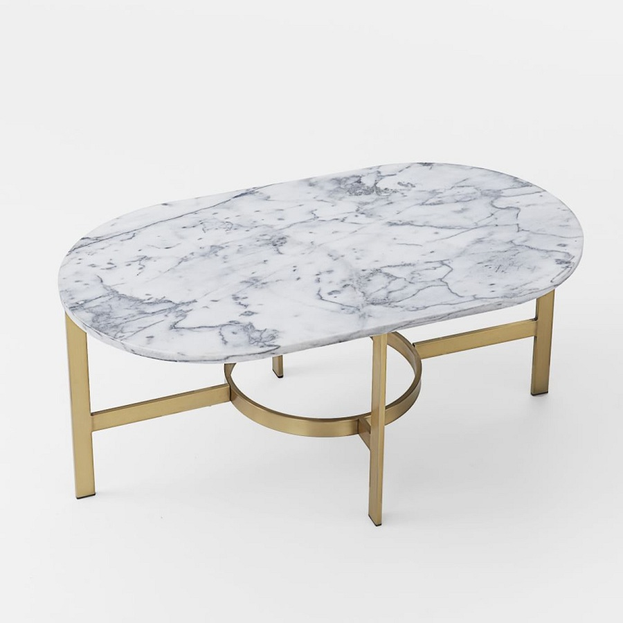 Image of: Modern Oval Marble Coffee Table