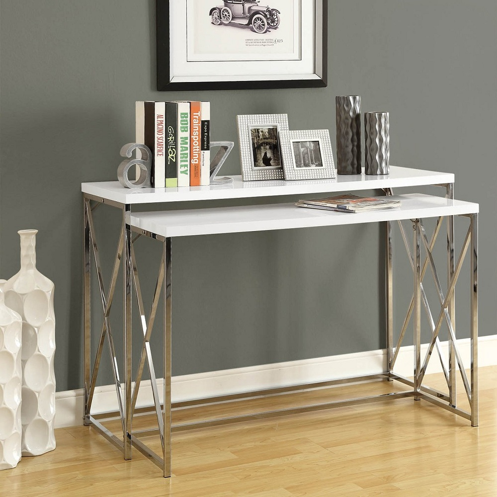 Picture of: Modern White Lacquer Console Table
