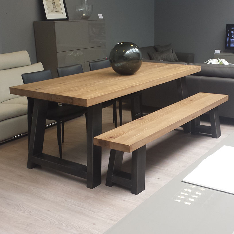 Picture of: modern wood and metal dining table