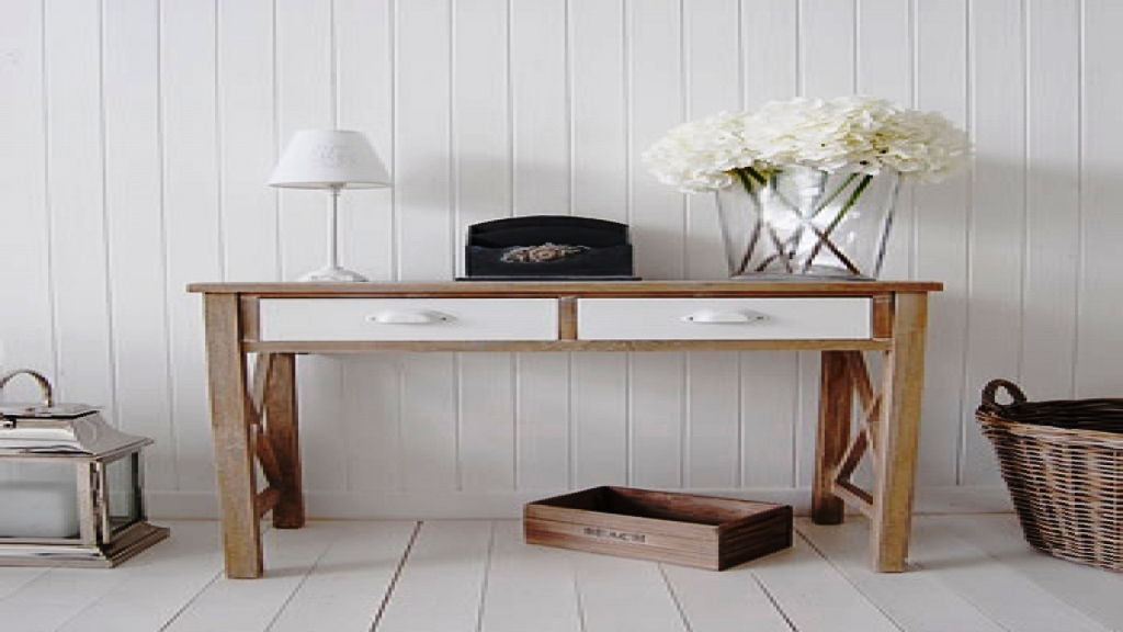 Picture of: Narrow Console Table With Storage
