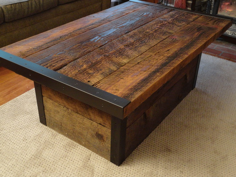 Picture of: Nice Distressed Wood Coffee Table