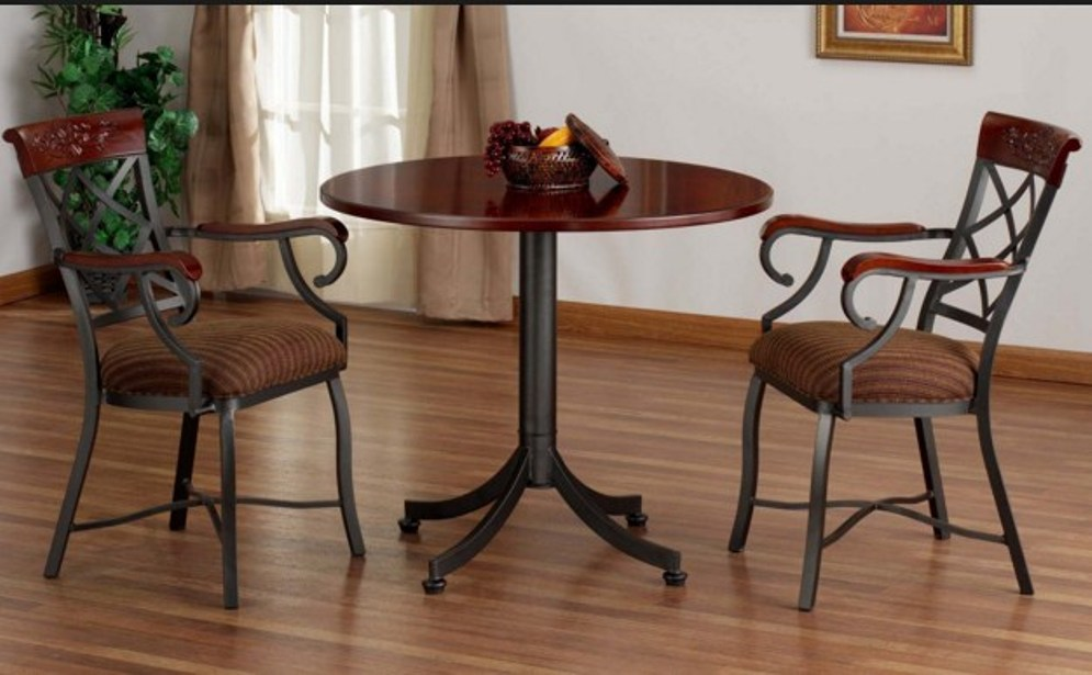 Image of: Oak round pub table and chairs