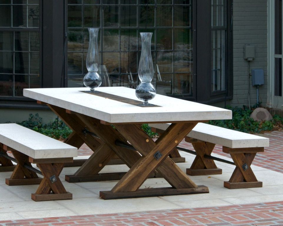 Picture of: Outdoor Repairing Concrete Picnic Tables