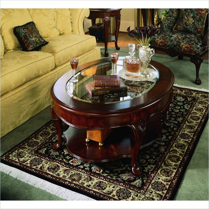 Picture of: Oval Glass Top Coffee Table Photo