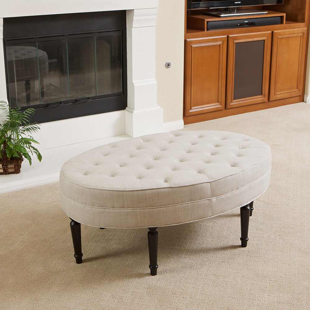 Picture of: Oval Tufted Ottoman Coffee Table