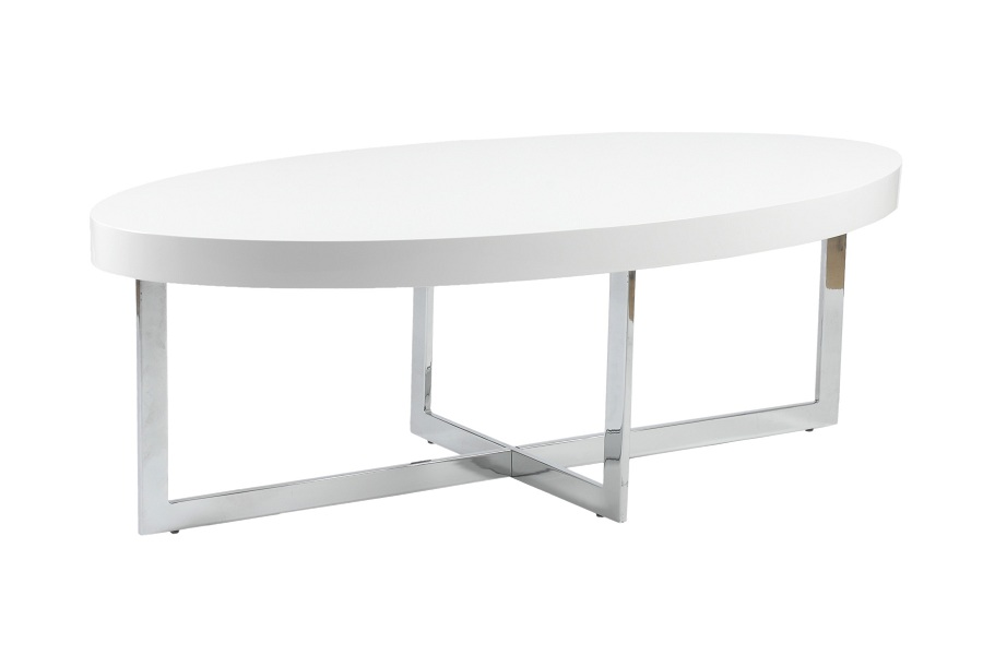 Image of: Oval White Lacquer Coffee Table