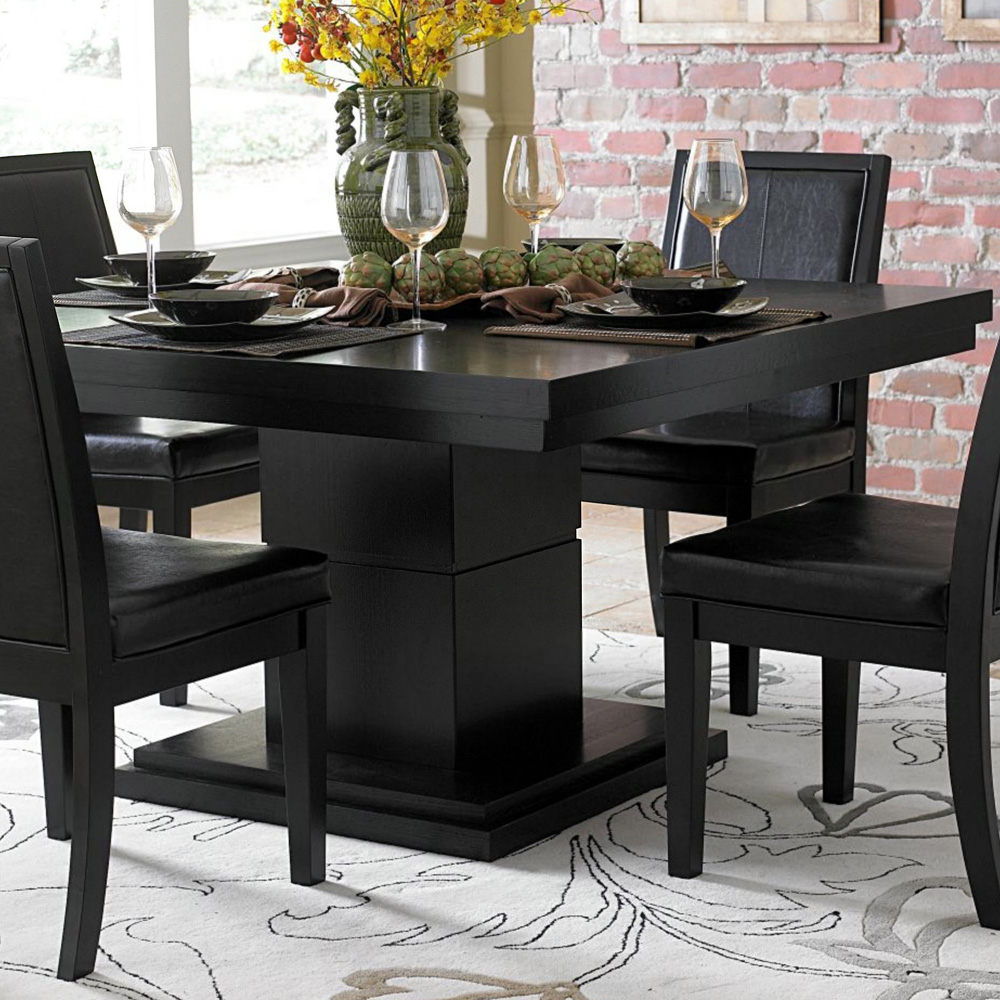 Picture of: Pedestal Dining Room Table Black