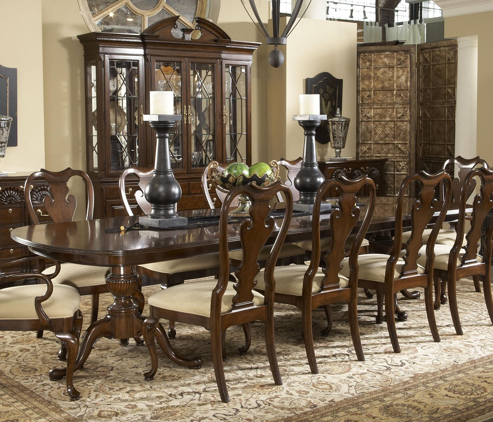 Image of: Pedestal Dining Room Table Wood