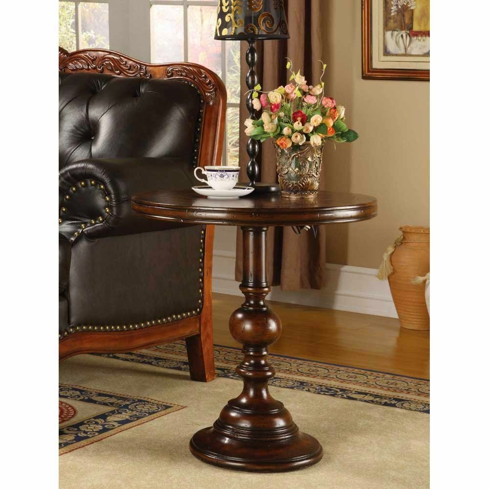 Image of: Pedestal End Table Brown Wood