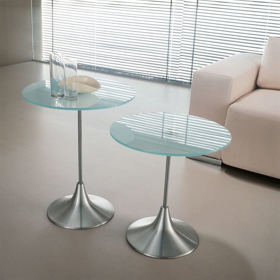 Pedestal End Table Glass Coffee