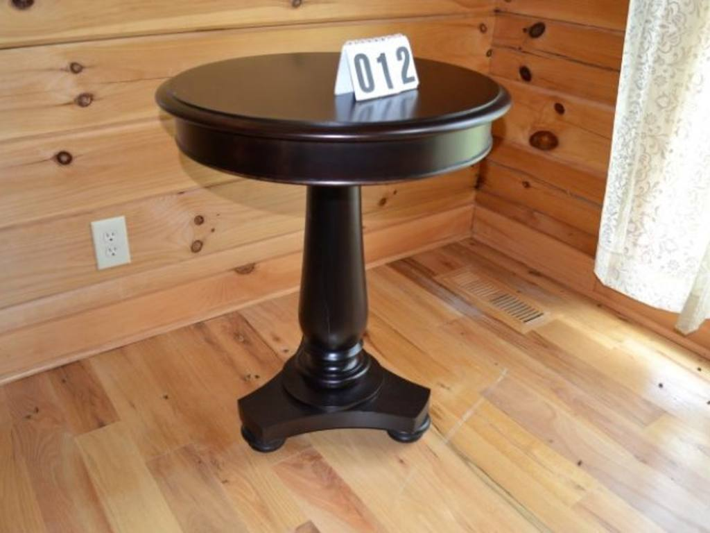Image of: Pedestal End Table Round Brown