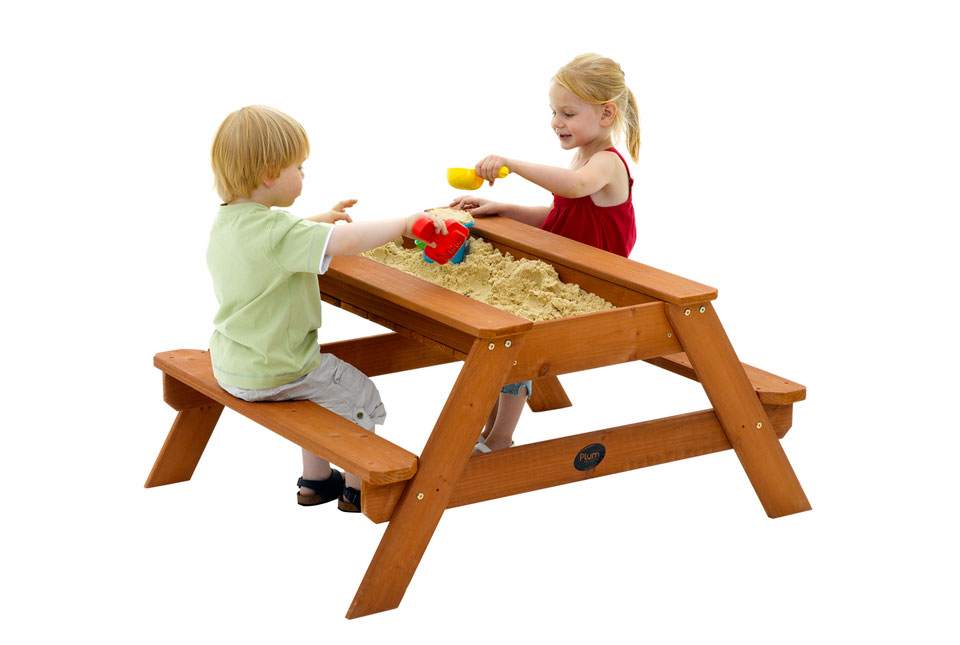 Image of: Plum Wooden Sand Picnic Table