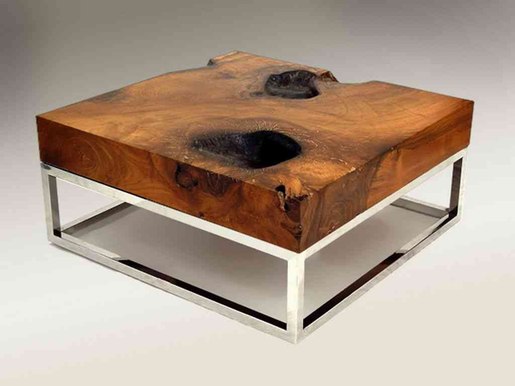 Image of: raw wood coffee table and end tables