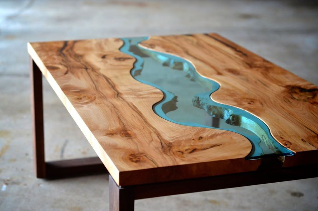 Image of: raw wood coffee table with glass top