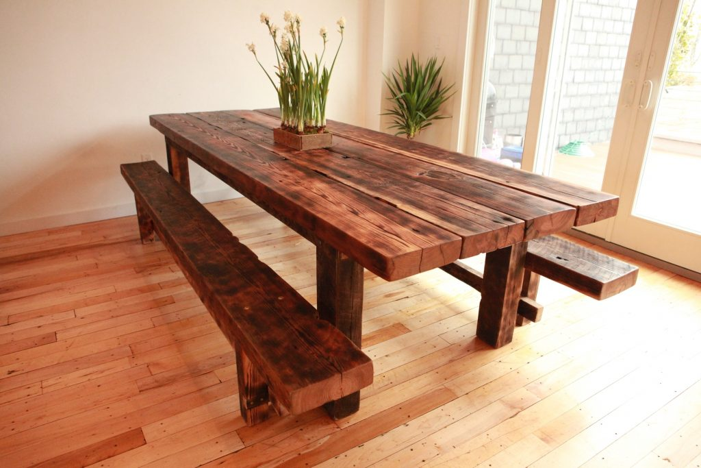 Picture of: reclaimed wood dining tables bench