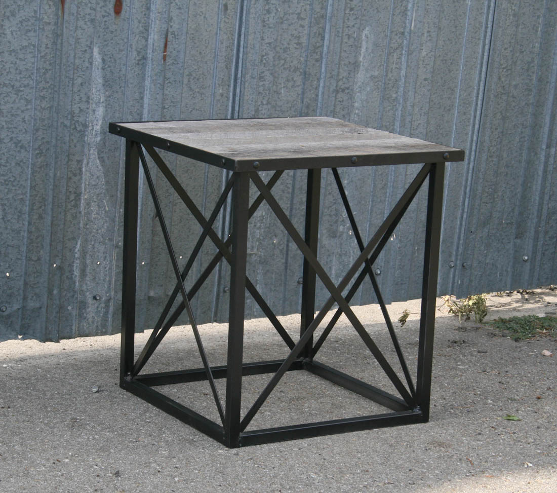 Image of: Reclaimed Wood End Table Black Metal