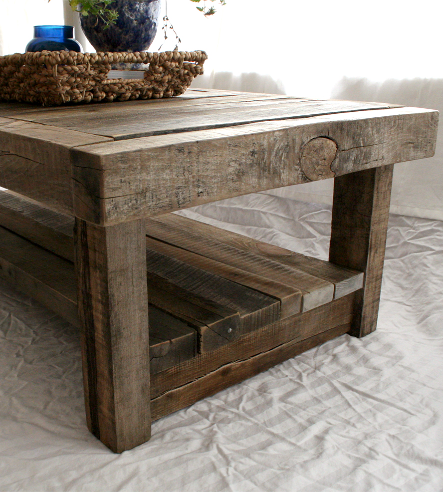 Reclaimed Wood End Table Square