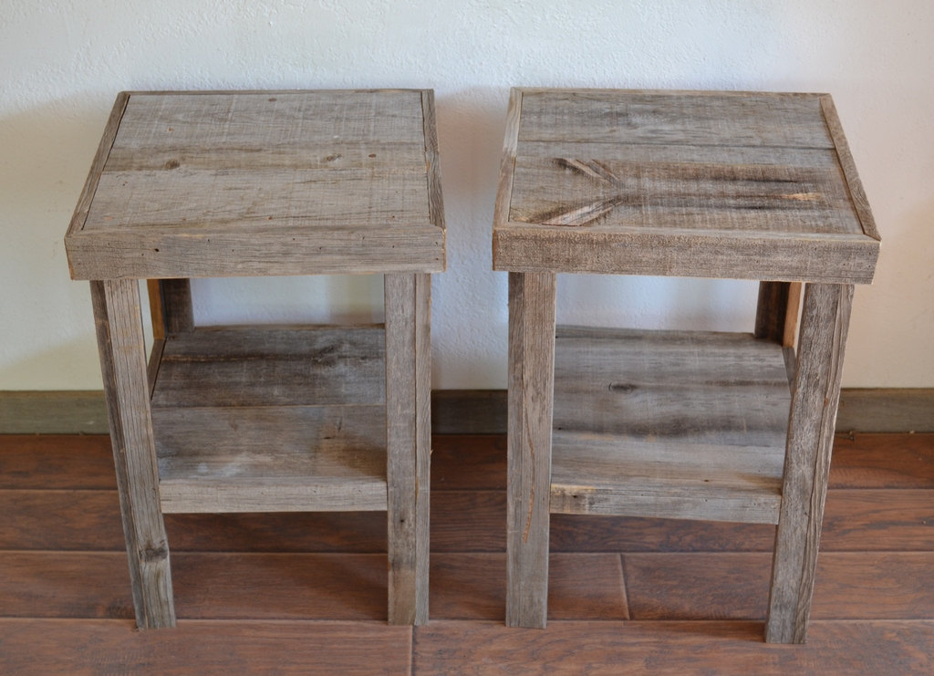 Picture of: Reclaimed Wood End Tables Squere
