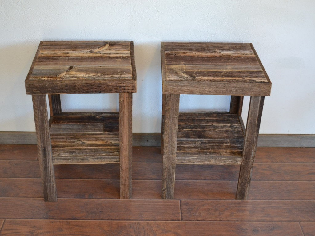 Picture of: Reclaimed Wood End Tables Tall
