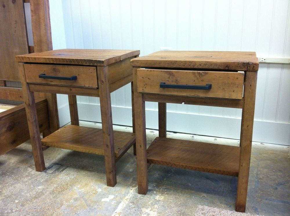 Picture of: Reclaimed Wood End Tables With Storage