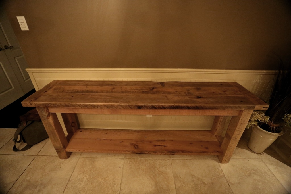 Picture of: Reclaimed Wood Sofa Table DIY
