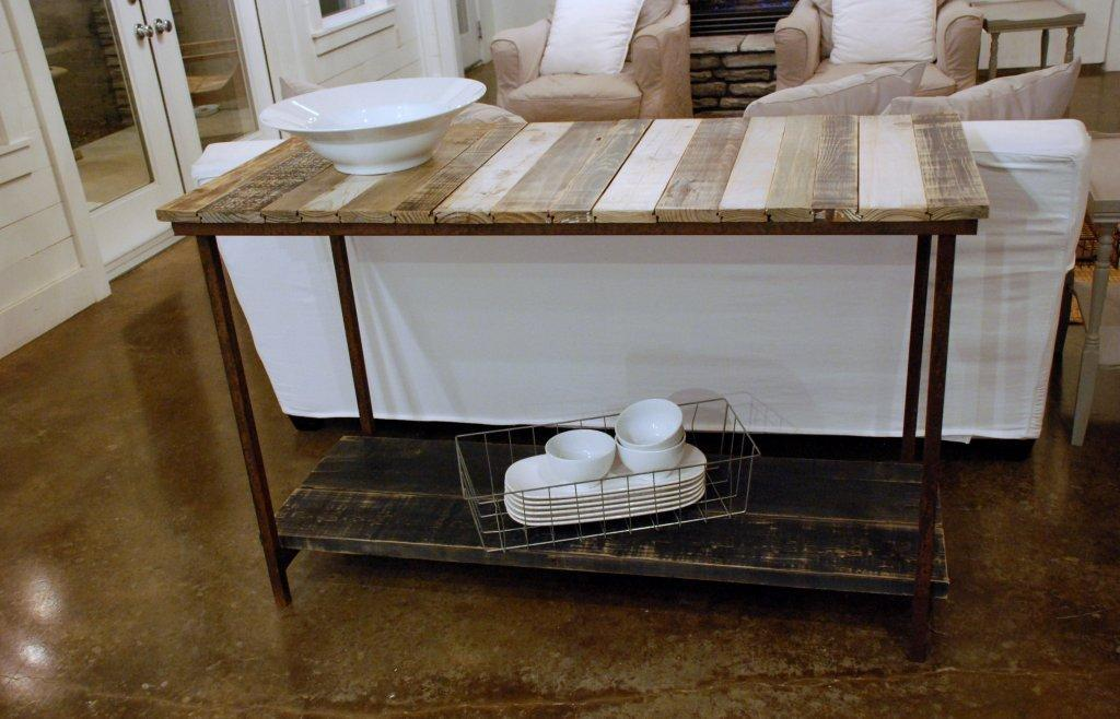 Picture of: Reclaimed Wood Tempered Glass Sofa Console Shelf Table