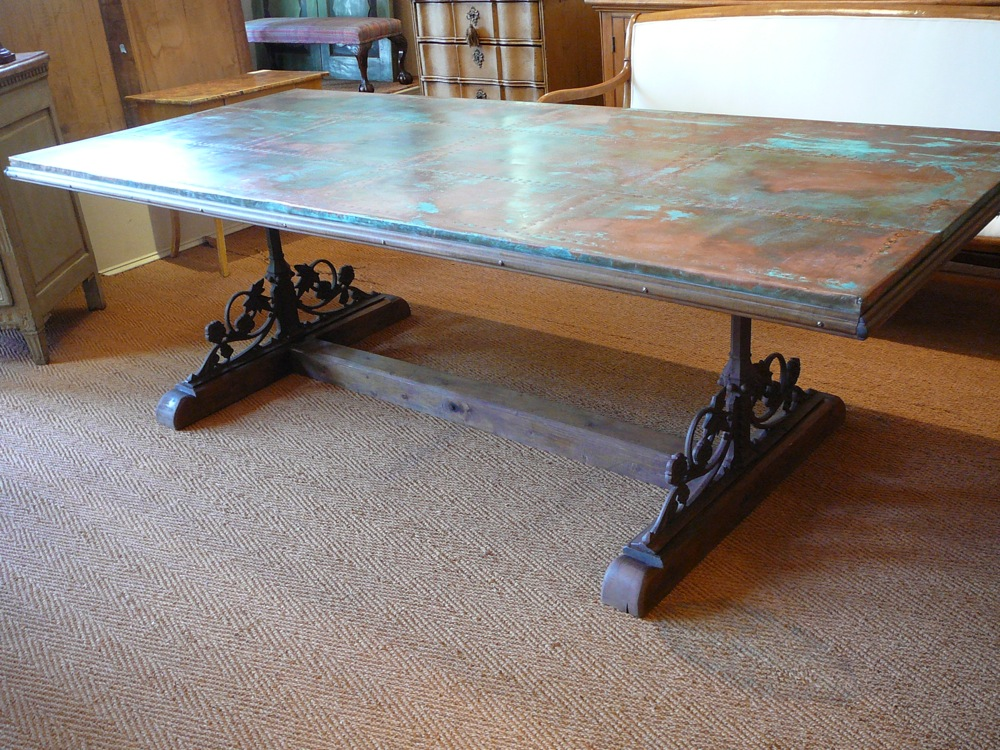 Picture of: reclaimed wood and metal dining table