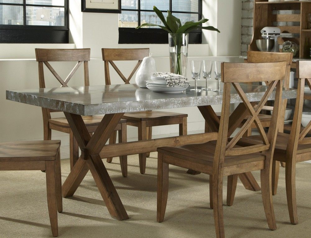 Picture of: rectangle wood and metal dining table